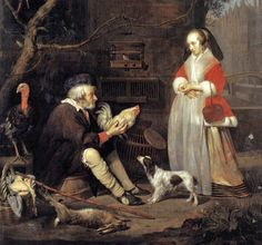 Gabriel Metsu (Dutch Baroque Era Painter, 1629-1667) The Poultry Seller