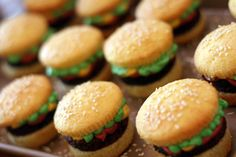 Brownie Burger Cupcakes by Bakerella...just made them and they turned out to be so cute! Very easy just time consuming so be sure you have a few hours carved out for this project!