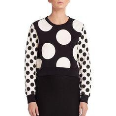 Boutique Moschino Polka Dot Cropped Sweatshirt ($410) ❤ liked on Polyvore featuring tops, hoodies, sweatshirts, apparel & accessories, pullover sweatshirts, crop top, graphic sweatshirts, black crewneck sweatshirt and striped crop top