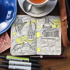 Edinburgh inspiration day trip completing sketching a map drawing of the city…