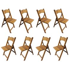 Set of Eight Ship's Galley Folding Chairs, Teak, Midcentury | From a unique collection of antique and modern collectibles and curiosities at https://www.1stdibs.com/furniture/more-furniture-collectibles/collectibles-curiosities/