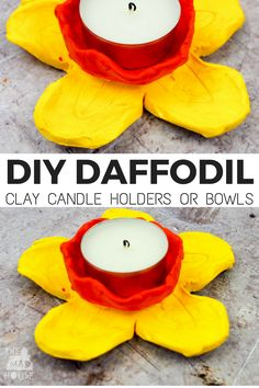 DIY Daffodil Clay Pots or Candle Holders. These DIY daffodil clay pots were are a great air drying clay craft and even better they double up as candle holders. A fantastic kid made gift. Air Dry Clay Ideas For Kids, Clay Projects For Kids, Clay Crafts For Kids, Kids Clay, New Crafts, Diy For Kids, Diy Projects, Gift Crafts, Daycare Crafts