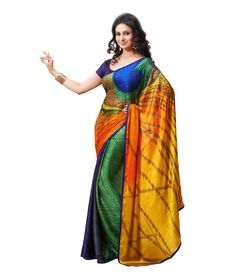 Nanda Silk Mills Multi Color Art Crepe Digital Saree