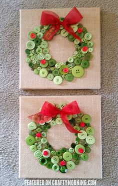 This darling button Christmas wreath craft was made by Sarah Brunette Idling's kids! It is so easy to make and would make great gifts for teachers, grandparents, etc. Materials Needed: Square canvas Glue Green buttons Red pom poms Red ribbon Start by tracing a circle onto the canvas for the kids to follow…put glue all …