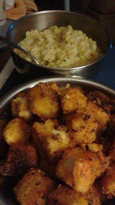 snowy cauliflower puree with spicy tofu nuggets Recipes at https://vegantasticcom.wordpress.com/2015/12/09/whats-for-dinner-tonight/