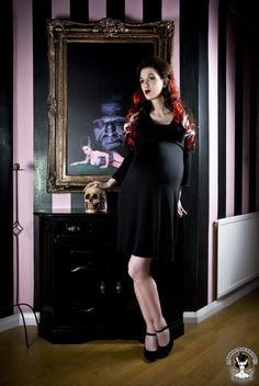 V neck Fitted  Black Maternity dress from Mamasan Maternity...one day