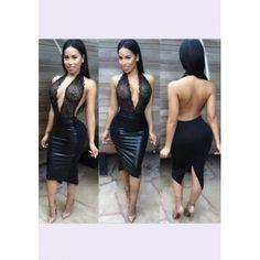 MalangFashion Black Patchwork Lace Plunging Neckline PU Leather Midi Dress  Split Prom Dresses 3ed379bc2