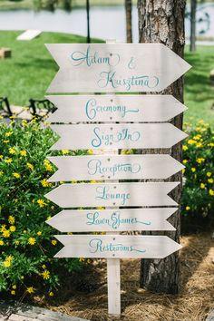 White, Blue DIY Cursive Wedding Signs