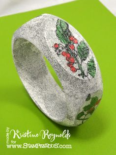 Stamping & Scrapping in California: wooden Bangle with #Stampendous stamp