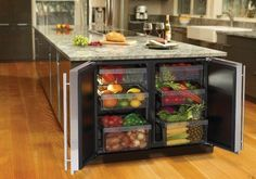 Undercounter Refrigerator in Kitchen Isles or Cabinets Enlarging Small Kitchens