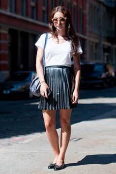 Alex wears a #Topshop skirt, #Theory shirt, #Chanel flats, and #Madewell sunnies #streetstyle