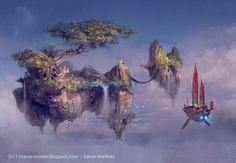 Arcania by Rheinmetall High Fantasy, Fantasy World, Fantasy Art, City Landscape, Fantasy Landscape, Steampunk, Cloud City, Fantasy Places, Alternate History