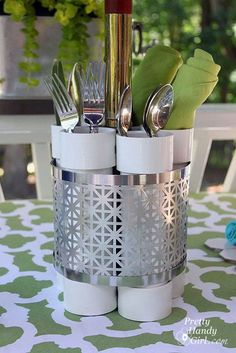 14 Awesome PVC Projects for the Home • Lots of great Ideas and Tutorials! Including, from 'pretty handy girl', this handy PVC utensil holder / vase.