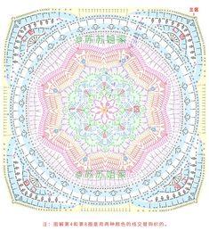 Motif Mandala Crochet, Crochet Doily Diagram, Crochet Motif Patterns, Crochet Circles, Crochet Chart, Crochet Doilies, Crochet Flowers, Crochet Stitches, Crochet Square Blanket
