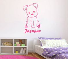 Cute Puppy Dog Personalized Name Vinyl Wall Stickers decor sticker Art For Children Nursery Room Kids Decals Home Decor Cute Puppies, Dogs And Puppies, Vinyl Wall Stickers, Decals, Dog Rooms, Cute Home Decor, Nursery Room, Art For Kids, Kids Room
