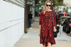 The NYFW Street Style Looks That Truly Stunned #refinery29  http://www.refinery29.com/2014/09/73987/new-york-fashion-week-2014-street-style-photos#slide21  Joanna Hillman's poppy-red frock matches her poppy-red lips.
