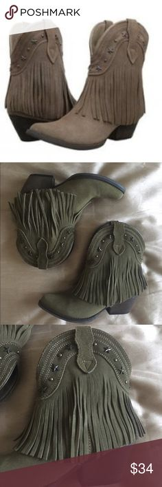 Suede Fringe Booties Adorable Suede Olive Cowboy Fringe Booties. Such a great look with skinny jeans or a skirt, love them! Sadly never worn in Fl :( excellent condition! Volatile Shoes Ankle Boots & Booties