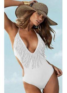 Tassel White Monokini for Lady