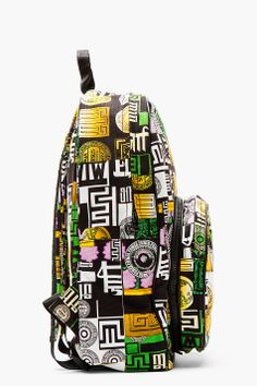 VERSUS // GREEN MULTICOLOR CANVAS M.I.A EDITION LOGO-PRINTED BACKPACK