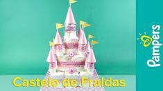 DIY Decoração de chá de bebê: Bolo de Fraldas de Castelo Encantado | Pam...