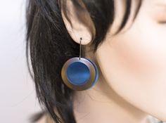 Copper blue peacock eye dangle earrings, titanium from Arpelc Blue Titanium Jewelry by DaWanda.com