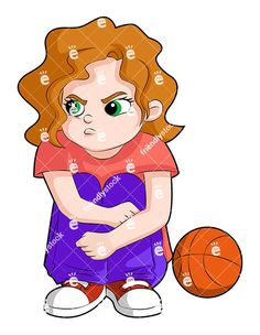 A Young Girl Sitting Next To A Basketball Looking Angry: Royalty-free vector clipart of a little girl sitting on the ground with her arms crossed over her legs, basketball by her side. She looks upset. Angry Little Girls, Angry Girl, Free Vector Clipart, Kids Vector, Arms Crossed, Girl Cartoon, Needle Felting, Royalty, Cartoons