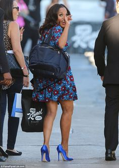 Leggy display: The 37-year-old actress looked stunning in a pretty blue ensemble with sati...