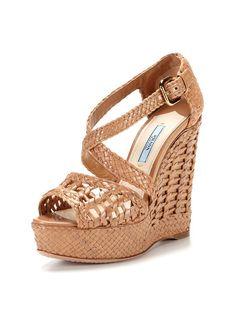 Basket Weave Wedge Sandal by Prada on Gilt.com