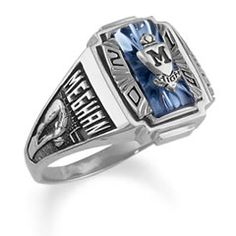 Ladies' Siladium® Crestline Heirloom High School Class Ring by ArtCarved® (1 Stone) - Class Rings - Zales