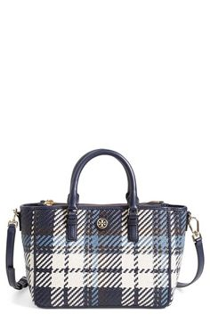 Tory+Burch+'Robinson'+Plaid+Leather+Double+Zip+Woven+Leather+Tote+available+at+#Nordstrom