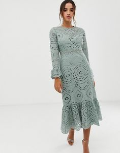 Browse online for the newest ASOS DESIGN PREMIUM broderie maxi dress with pep hem and fluted sleeves styles. Shop easier with ASOS' multiple payments and return options (Ts&Cs apply). Modest Fashion, Fashion Dresses, Outfit Des Tages, Pleated Midi Dress, Peplum, Asos Dress, Maxi Dress With Sleeves, Going Out Dresses, Awesome Dresses
