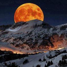 Super Moon rising above Sierra Nevada Sequoia National Park California