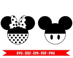 Mickey mouse and Minnie mouse head silhouette clip art, digital format svg svg, eps, pdf, png, dxf. For Silhouette, Cricut, Cameo vinyl, embroidery