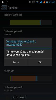 vymazání mezipaměti v androidu