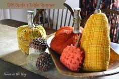 IDIY burlap table runner for fall via House on the Way