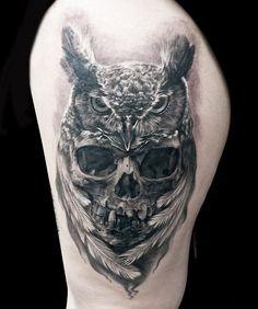Realistic Skull Tattoo by Steve Butcher | Tattoo No. 12985