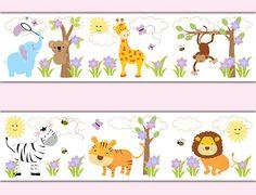 SAFARI JUNGLE ANIMAL Decal Wallpaper Border Girl por decampstudios