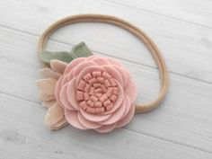 Wool Felt Rose Headband or Hairclip Blush by SnuggleBugsBowtique