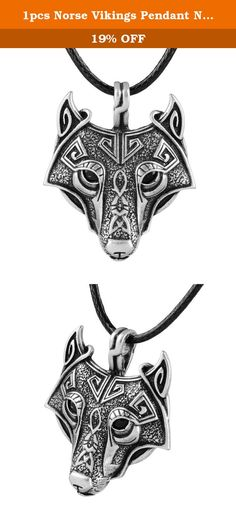 """1pcs Norse Vikings Pendant Necklace Norse Wolf Head Necklace Original Animal Jewelry Wolf Head hange. 1) Norse Wolf Head Amulet pendant Necklace. 2)Included Black South Korea PVC rubber necklace 18"""" long. 3) Size: 45*37mm. 4)Made from the Finest High Quality Polished Sterlling Silver. 5) FAST shipping from China."""