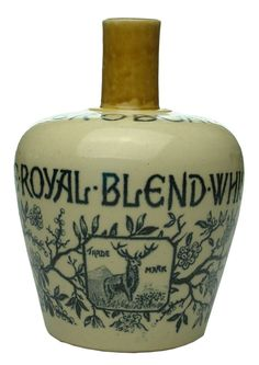 "Auction 27 Preview   875   Jeroboam Royal Blend Whisky Thomson Glasgow Stone Jug A. G. Thomson & Co., Glasgow, ""Jeroboam"". 193 mm. EX, lip chip, fine 45 mm hairline (8.0) sold $63"
