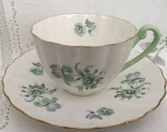 Vintage English SHELLEY Fine Bone China Tea Cup & por CupsAndRoses