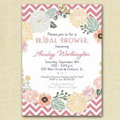 Vintage Flower Wreath and Pink Chevron Bridal Shower Invite - Yellow Chevron - PRINTABLE INVITATION DESIGN. $12.50, via Etsy.