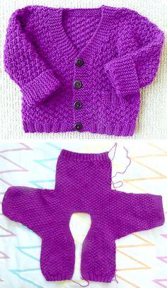 Baby Cardigan Knitting Pattern Free, Baby Boy Knitting Patterns, Crochet Baby Sweaters, Beginner Knitting Patterns, Baby Hat Patterns, Knitting For Kids, Baby Knitting, Free Knitting, Cardigan Bebe