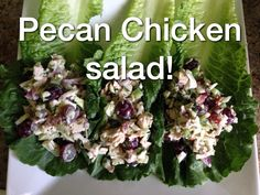 Pecan Chicken Salad!!   1 Lb chicken breasts 1 stick celery, chopped  3/4 cup Kale or green cabbage  1/4 cup parsley , chopped 1/4 cup red onion, chopped 8 romaine, leaves 2 tsp honey 2 tsp lemon juice 1 salt and black pepper 1/2 cup pecan pieces 2 tbsp yoplait Greek yogurt  Serves 4 #glutenfree #healthylifestyle #healthyfoodshare #healthyliving #mindbodygreen #loveyourself