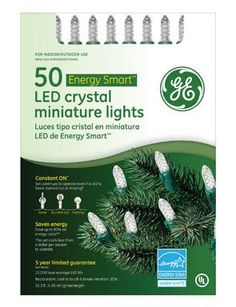 "$18.75-$16.99 GE50CT LED WHT Mini Set - GE, 50 Count, Warm White, Watt Miser Constant On LED Crystal Miniature Light Set, 6"" Lead Wire, 4"" Lamp Spacing, 6"" End Connector Plug, 16.3' Lighted Length, 17.3' Total Set Length, Green Cord Set With Fused Plug, Color Box With PVC Window. http://www.amazon.com/dp/B002JGRMRW/?tag=pin2wine-20"