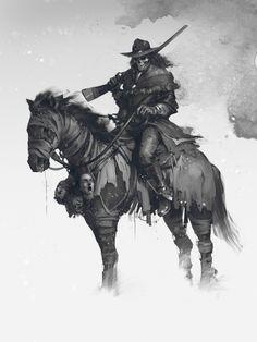 ArtStation - The bounty hunter, Denys Tsiperko Dark Fantasy Art, Dark Art, Chasseur De Primes, West Art, Cowboy Art, Fantasy Warrior, Bounty Hunter, Ghost Rider, Horror Art