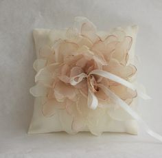 Ivory Wedding pillow with  ivory/brown flowerwedding by tijusai, $28.00