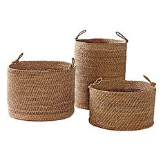 "Laguna Seagrass Baskets – Natural (Set of 3) | Serena & Lily  Handwoven of sustainable seagrass. Short: 18"" DIAM x 11"" H. Medium: 19"" DIAM x 15"" H. Tall: 17"" DIAM x 21"" H. Handles, 5"" DIAM  $198"