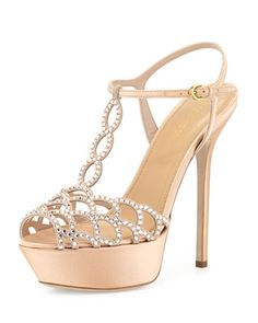 Scalloped Crystal T-Strap Platform Sandal, Beige by Sergio Rossi at Bergdorf Goodman.