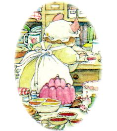 Mrs. Crustybread: The cook at the old oak palace, Mrs. Crustybread prepares beautiful cakes for all the celebrations of Brambly Hedge.
